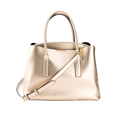 Gold Shining PU Big Zippered Women Handbag