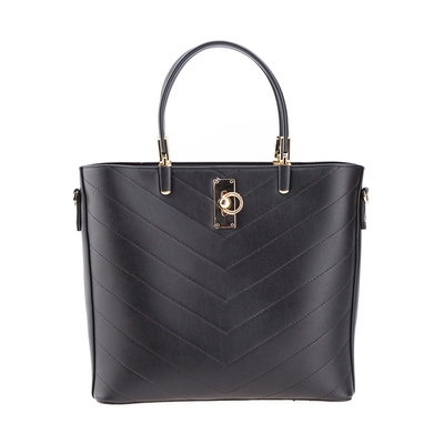 Black Color Designer PU Leather Big Capacity Handbag